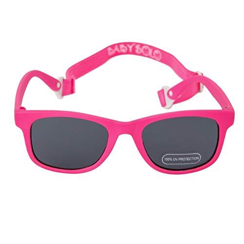 Baby Solo Babyfarer Baby Sunglasses Safe, Soft, Adjustable and Adorable 0-24 Months (0-24 months, Matte Hot Pink Frame W/Solid Black Lens) (Best Sunglasses For Eye Health)