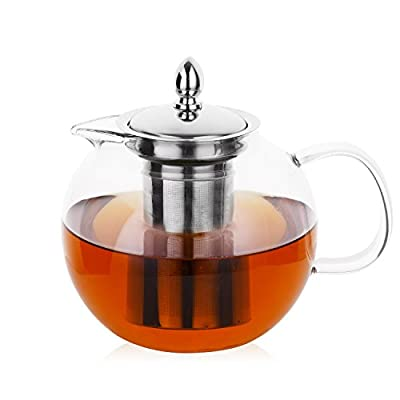 Hiware Glass Teapot with Removable Infuser, 45oz Blooming and Loose Leaf Tea Pot, Microwavable and Stovetop Safe Tea Pot and Tea Strainer