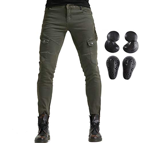 Men Women Motorcycle Riding Jeans Protective Pants Knight Hockey Biker Armor Pants (S=28, Army Green)