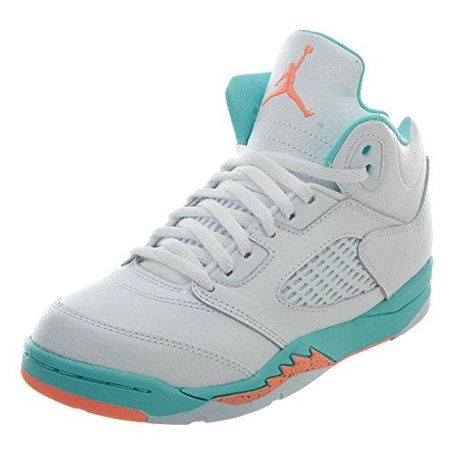 (Jordan Nike 5 Retro Kids GP White/Crimson Pulse-Light Aqua 440893-100 (Size: 3Y))