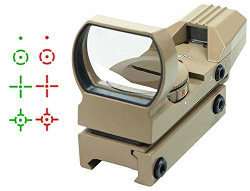 Lancer Tactical TAN Multi 4 Reticle Red & Green Dot Open Tubeless Reflex Scope Sight Adjustable Brightness with Weaver-Picatinny 7/8