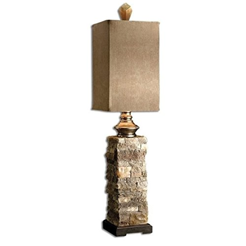 Pemberly Row Layered Stone Buffet Lamp in Ivory and Brown by Pemberly Row