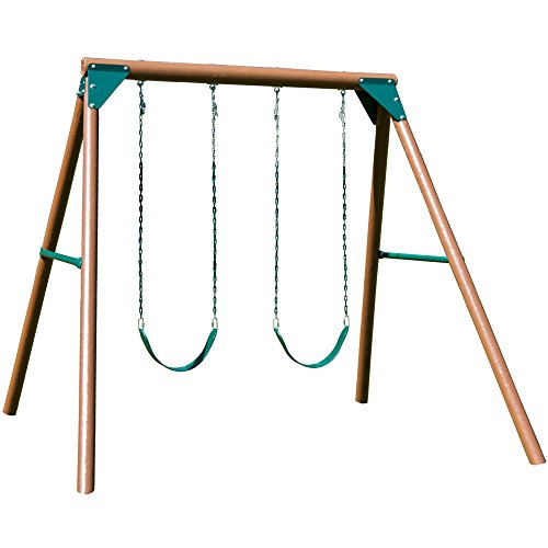 Swing-N-Slide PB 8329 Equinox Swing Set Wooden Pole Set with 2 Swing Seats and Hardware, Wood (Wooden Small Sets Swing)