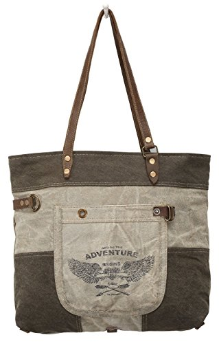 Myra Bags Adventure Begins Upcycled Canvas & Denim Tote Bag M-0897 by Myra Bag