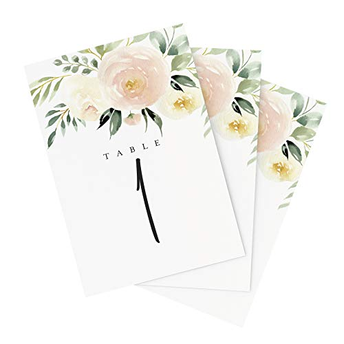 Bliss Paper Boutique Blush Floral Table Numbers, 1-25, Centerpiece Decorations, Double Sided 4x6, Floral, Blush, Merlot and Greenery Style Design, Numbers 1-25 & Head Table Card Included