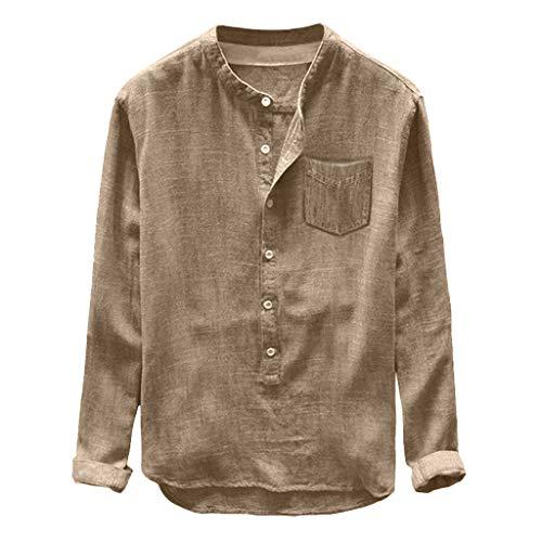 - Toimothcn Mens Henly Shirts Casual Short&Long Sleeve Button Down Linen Cotton T-Shirt Tops(Khaki1,XL)