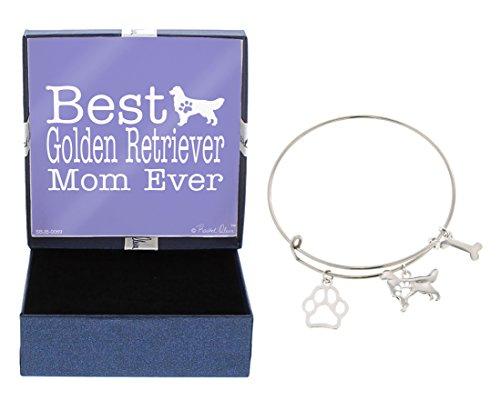 - Best Golden Retriever Mom Ever Bracelet Gift Love Dog Breed Silhouette Adjustable Bangle Charm Silver-Tone Bracelet Gift Golden Retriever Owner Jewelry Box