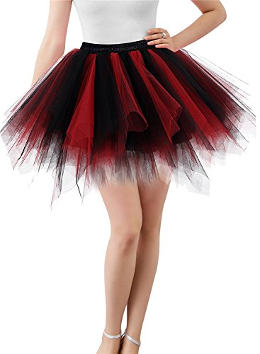 MizHome Womens Plus Size Black&Red Tutu Skirt Layered Tulle Skirt Adult Halloween -