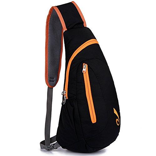 Etach nuevo estilo casual moda ligera carcasa impermeable bolsa de nylon para deportes al aire libre en el pecho, dorado naranja