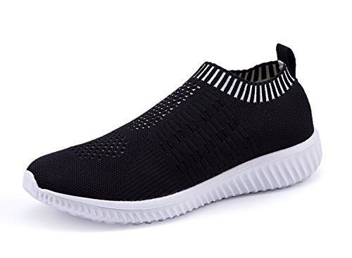 XMDR Women's Fashion Sneakers Breathable Mesh Casual Sport Shoes Comfortable Walking Shoes Black 40 by XMDR