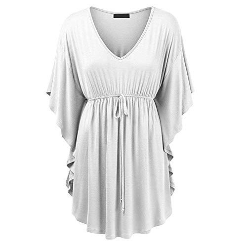 Costume Blouse Irrgulier Chic Volants Cou Manches Plier Courtes Femme Mode V Blanc Confortable Top Bandage lgant Shirt Et Pullover Chemise Taille lastique Uni Bouffant Manche Casual TSwZXz