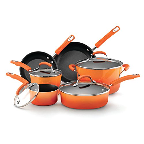 Rachael Ray Hard Enamel Nonstick 10-Piece Cookware Set, Orange Gradient by Rachael Ray