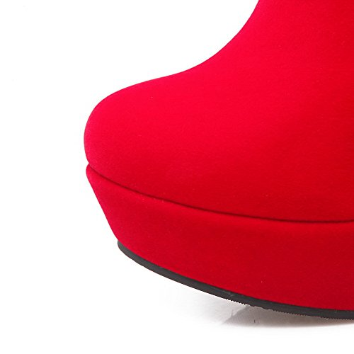 VogueZone009 Damen Niedrig-Spitze Reißverschluss Hoher Absatz Rund Zehe Stiefel Rot