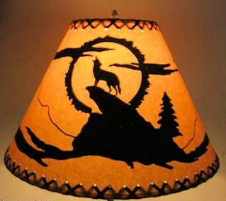 16 Inch Coyote Rustic Lamp Shade.....Click on Photos to View Sizing and Style Options! (Wolf Shade)