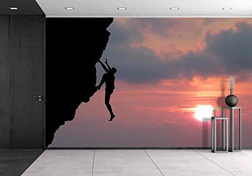 Wall26   Climber To Conquer The Peak   Removable Wall Mural   Self Adhesive Large Wallpaper   100X144 Inches