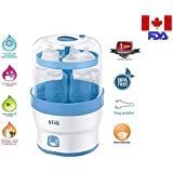 Stok Baby BPA-free 3 in 1 Electric Steam Sterilizer for Baby Feeding Bottles and Food Steamer, White (6 Pieces)