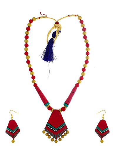 Anuradha Art Red Finish Designer Classy Trendy Handcrafted Terracotta Necklace Set For Women/Girls