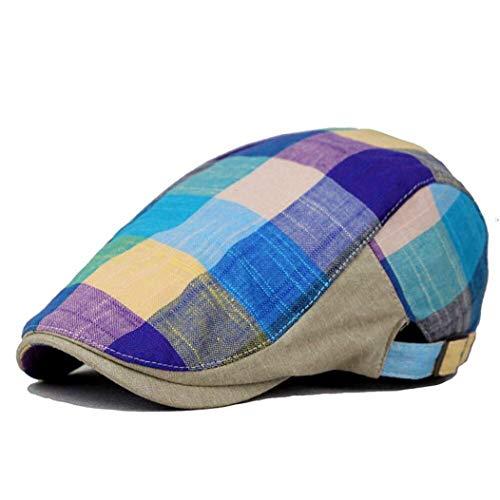 Men Colorful Plaids Checks Cap Driving Golf Peaked Ivy Newsboy Flat Cap Cabbie Newsboy Beret Hat Blue