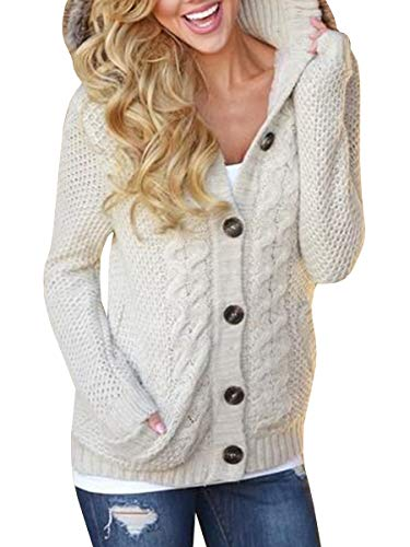 Sherrylily Womens Long Sleeve Button Down Hooded Knit Cardigan with Pockets Casual Sweatter Coat (Large, Beige) (Hooded Sleeve Long Casual)