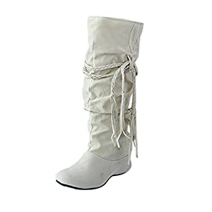Fringe Boots,Todaies Women Heighten Platforms Thigh High Boots Motorcycle Shoes Round Toe (Beige, US:8.5)