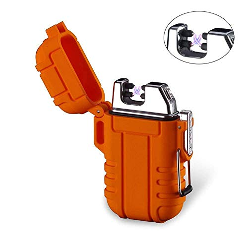 KOBWA Flameless Outdoor Camping Dual Arc Lighter, Mini Portable Windproof Waterproof Plasma Lighter, USB Powered & Rechargable Electric Fire Starter for Hiking Travelling Gas Stove BBQ, Orange ()