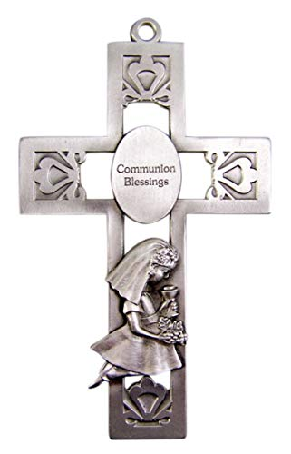 Silver-Toned Pewter Girl Communion Blessings Medal Hanging Wall Cross, 5 1/4 inches -