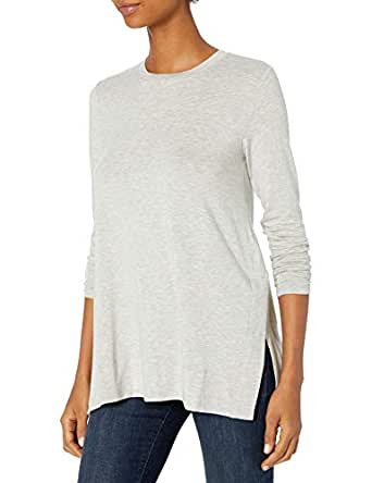 Daily Ritual Amazon Brand Women's Long-Sleeve Split-Hem Tunic, Light Heather Grey, X-Small