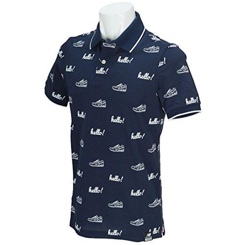 ニューバランス New Balance 半袖シャツ?ポロシャツ METRO helloモノグラムプリント半袖ポロシャツ 012-7160017 ネイビー 120 4