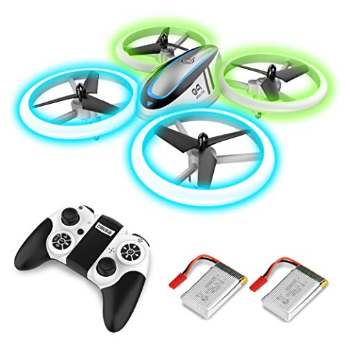 Q9 Drones for Kids,RC Drone with Altitude Hold and Headless Mode,Quadcopter with Blue & Green Lights,Propellers Full Protect and Double Batteries,Easy to Fly Gift Toy for Boys and Girls (Blue Thunder Rc Helicopter)