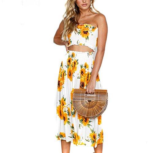 (Muranba Women Dress, Womens Two Pieces Bowknot Lace Up Buttons Holiday Beach Tops Skirt Set (Yellow, XL))