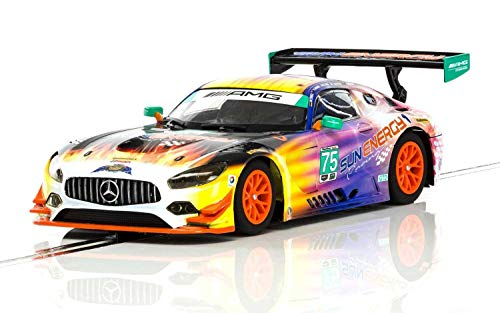 Scalextric C3941 Mercedes AMG GT3 Daytona 24 Hr 2017 Sun Energy 1:32 Slot Race Car, Yellow/Purple 32nd Scale Slot Car