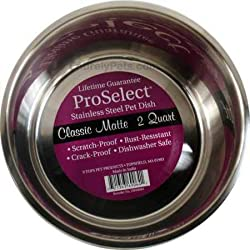 Pro Select 2-Quart Stainless Steel Classic Matte Pet Bowl, 8-Inch