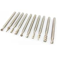 10pc High Speed Steel Burr Bit Set Wood Carving Rasps For Dremel 1/8 Shank Burs by Rotary