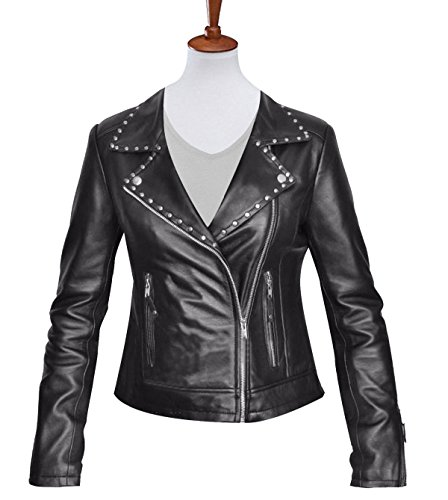 amp; Real Leather Style Leather Geniune Stylish Faux Jacket Black Womes's Slimfit Qaulity High Biker Body TzxRw4