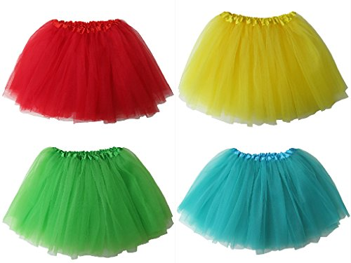 (4-Pack Princess Fairy Party Tutus - Tutu, Skirt, Costume Favors Set (Rainbow)
