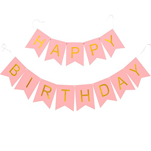 Koker Pastel Gold Glittered Foil Happy Birthday Bunting Banner Garland, 1st Birthday Party Decoration Sign, Pink Flag (First Birthday Sign)