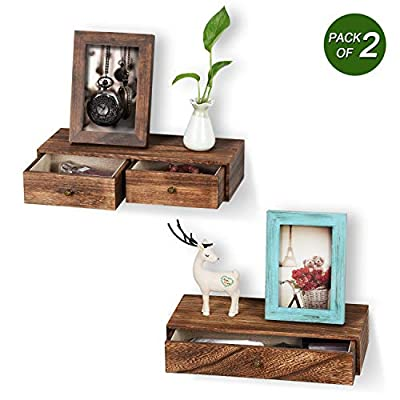 Emfogo Floating Shelf with Drawer Rustic Wood Wall Shelves for Storage and Display Multiuse as A Nightstand or Bedside Shelf Set of 2 Carbonized Black - 【WALL DURABLE SHELVES FOR WALL】Made of solid wood and carbonized black color after tourched finish feature a rustic sytle, two holes behind the shelf make it easy to install and durable enough to hold up to 22 lbs 【STYLISH AND RUSTIC STYLE】This floating shelf features a hidden drawer adds a rustic, elegant touch to any room while adding functional storage space. 【EFFECTIVE SPACE UTLILZATION】2 drawer help you free-up home space for store keys, DVDs, phone notepads, pens, and other knick-knacks, perfect for utilizing your walls efficiently, free up more floor space. - wall-shelves, living-room-furniture, living-room - 41yK4Vu%2BpYL. SS400  -