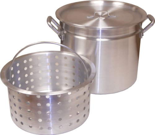 King Kooker KK32R Aluminum Pot with Basket and Lid, 32-Quart