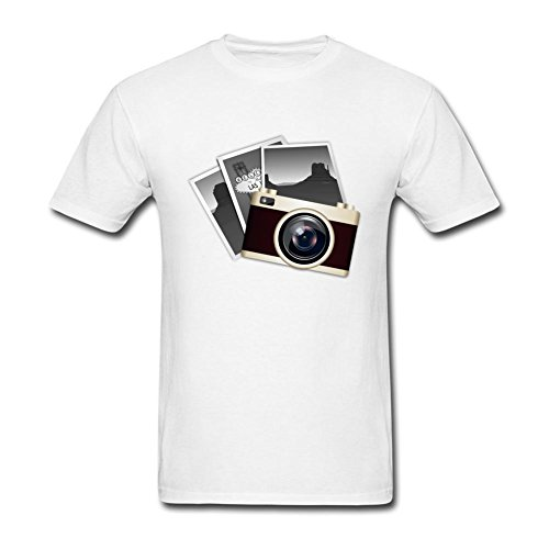 (WHShirt Men's Camera And Pictures Short Sleeve T-Shirt Small White)