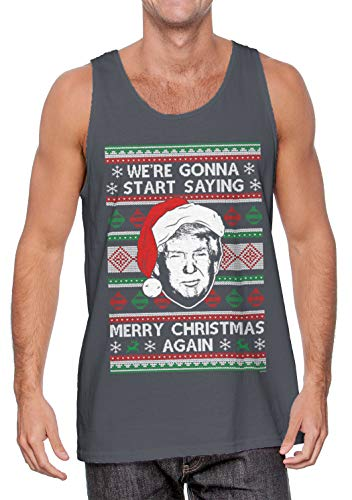 We're Gonna Start Saying Merry Christmas Again Men's Tank Top (Charcoal, X-Large)