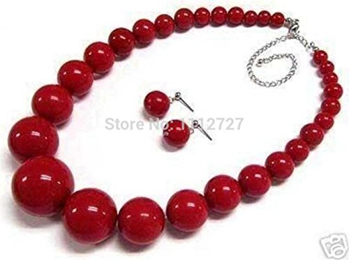 Prime Leader 2015 New Fashion Beautiful 6-14Mm Red Coral Round Natural Jewelry Sets Necklace Earring Beads Stone 18