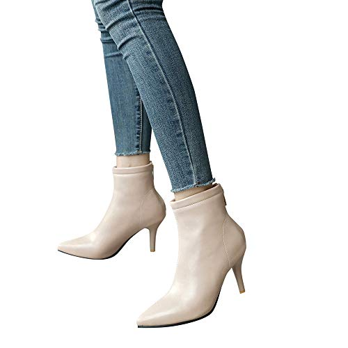 Women's Leather Ankle Boots Thin Heels Pointy Toe Zipper Plu