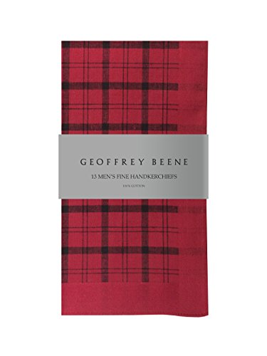 Geoffrey Beene 13 Pack Fine Handkerchiefs 100% Cotton (Red Stripe) (Mens Stripe Beene Geoffrey)