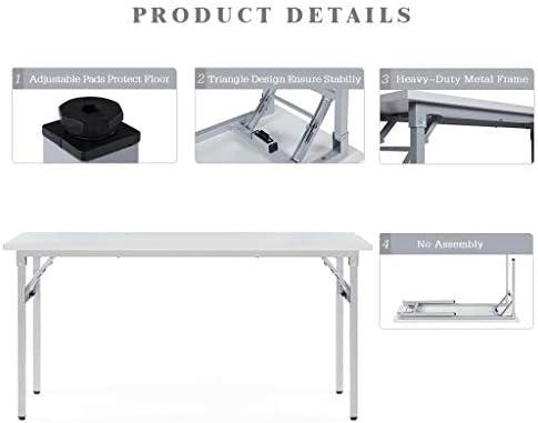 Sunon Folding Training Table Rectangle Wood Folding Table for Training Meeting Room 60-Inch Length, White
