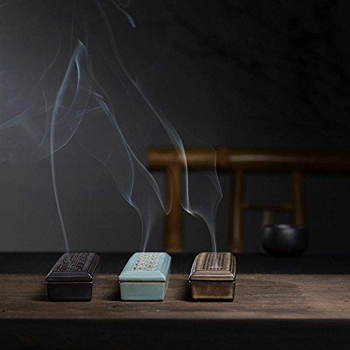 Clay Ceramic Incense Burner Stick Incense Holder Incense Ash Catcher (Dark Green)