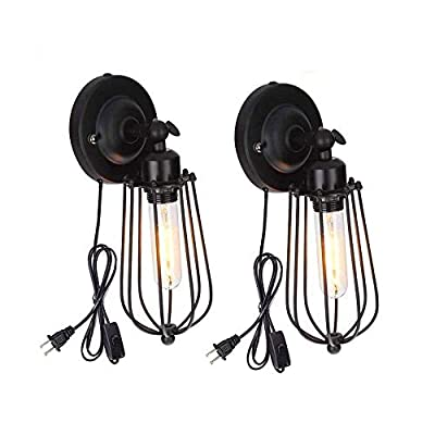 Wire Cage Wall Sconce, Wall Lamp Industrial Plug-In Wall Light Shade Vintage Style Edison E26 Base Antique Fixture For Headboard Bedroom Garage Porch Mirror 2 Pack (No Bulb)