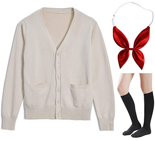 Long Sleeve deep V-Neck Knitted Button up Cardigan Sweater Anime Japanese School Girl Uniform with Socks Set(Light Apricot 2XL)]()