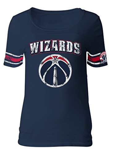 NBA Washington Wizards Adult Women Ladies Baby Jersey Short sleeve with Printed sleeve stripes,S,Navy