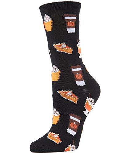 MeMoi Pumpkin Spice Latte Bamboo Crew Sock | Novelty Socks Black MCV04097 One Size