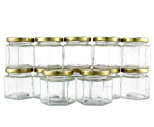 977ccd9cd062 4-Ounce Hexagon Glass Jars (12-Pack), One Dozen 4 Oz Hex Jar ...
